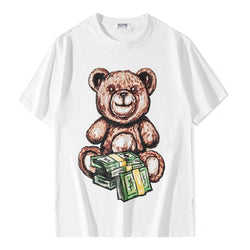 Teddy and Dollars! Short Sleeve T-shirt, Unisex Tees, Couple's T-shirt, Street Fashion Tee Shirt-TownTiger