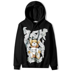 Teddy Bear with Money! Long Sleeve Unisex Warm Hoodie Sweatshirt, Sweater Tee