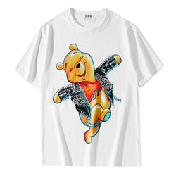 Teddy with Punk Jacket! Short Sleeve T-shirt, Unisex Tees, Couple's T-shirt, Street Fashion Tee Shirt-TownTiger
