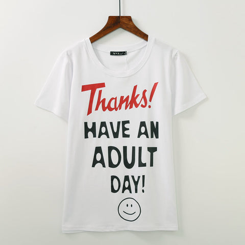 Thanks, have an adult day!Short Sleeve T-shirt, Women Tops, Girl's T-shirt, Tee-TownTiger