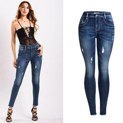 Thick! Blue Skinny Jeans, Winter Denim, Bottoms, Women Jeans, Femme Bottoms, Pants-TownTiger