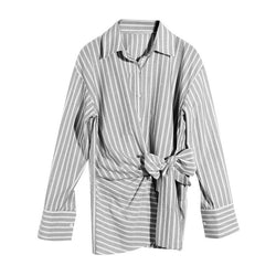 Tie Shirt! Striped Long Sleeve Shirt with Tie Knot, One Size Women Shirt-TownTiger