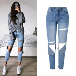 Torn! Ripped Blue Jeans, Denim, Bottoms, Women Jeans, Femme Bottoms, Pants Trousers-TownTiger