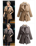 Trench Top! Double Breasted Military Style Jacket Tops, Plus Size Women Tops Trench Coat-TownTiger