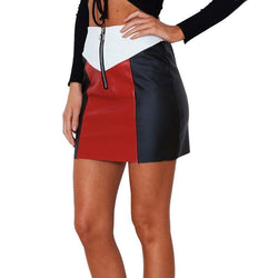 Tri-Color Faux Leather Skirt! PU leather,Motorcycle, Hip-Hugger, Women Jeans, Skirt-TownTiger