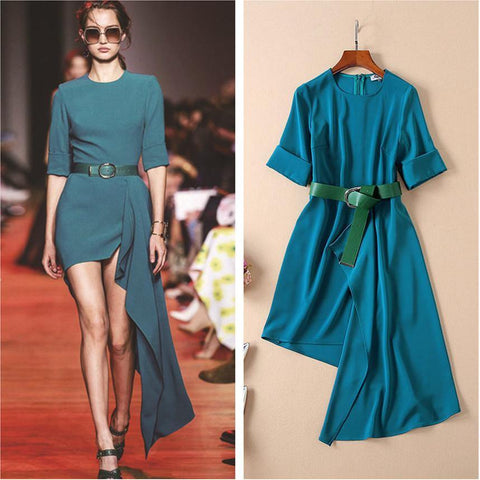 Turquoise and Green! Elegant Style Dress with Assymmetry Hemline , Women Dress 2019-TownTiger