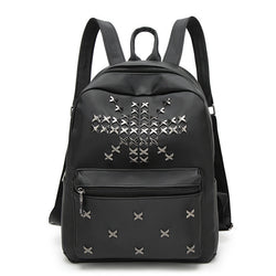 Union Jack ! Black Nylon Oxford Fabric Backpack Bags, Studs Pattern-TownTiger
