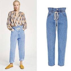 Waist Lace!Blue Jeans, Denim, Bottoms, Women Jeans, Femme Bottoms, Pants Trousers-TownTiger