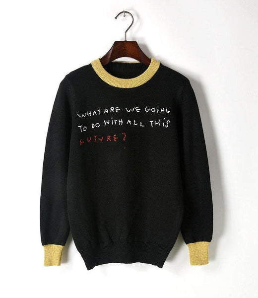 What are we going to do with all this Future! Women Knitwear Sweater-TownTiger
