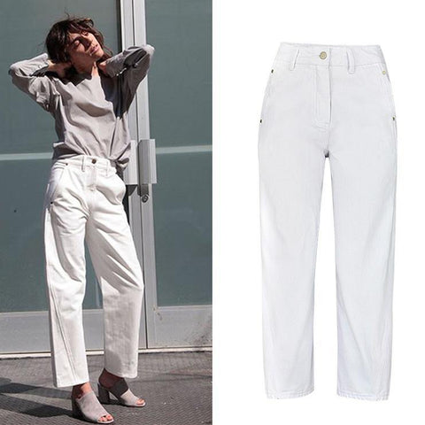 White! Jeans, High Waisted Denim, Bottoms, Women Jeans, Femme Bottoms, Pants Trousers-TownTiger