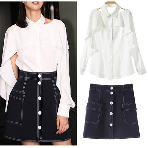 White Shirt and Denim Skirt! White Blouse and Denim Skirt Set 2-Piece fcb859d69