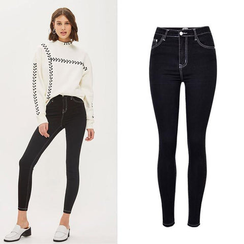 White Stitch! Denim Skinny, Nine, Women Jeans, Femme Bottoms, Pants Trousers-TownTiger