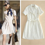 White V! Short Sleeve Trench Coat Dresses with Lapel, Women Dresses-TownTiger