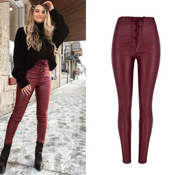 Wine PU Skinny High Waisted! Leather Pants, Bottoms, Women Femme Bottoms, Pants