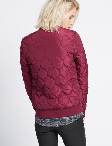 Wine Quilted Jacket! Quilted Zipper Jacket, Quilt Tops, Round Shape Quilting Tops, Girls' Quilted Jacket-TownTiger