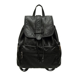 Wrinkle! Black Washable PU Leather Backpack Bags, Lychee Pattern-TownTiger