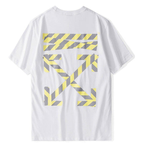 Yellow OFF! Short Sleeve T-shirt, Unisex Tees, Couple's T-shirt, Street Fashion Tee Shirt-TownTiger