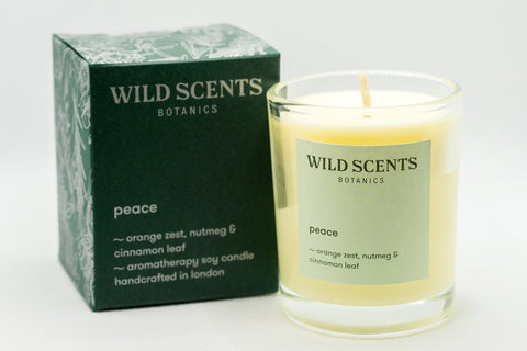 peace ~ orange peel spice scented candle handcrafted by Wild Scents Botanics