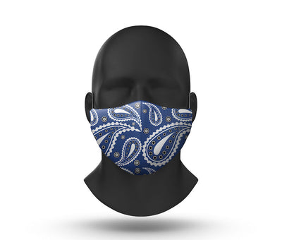 blue paisley facemask front view