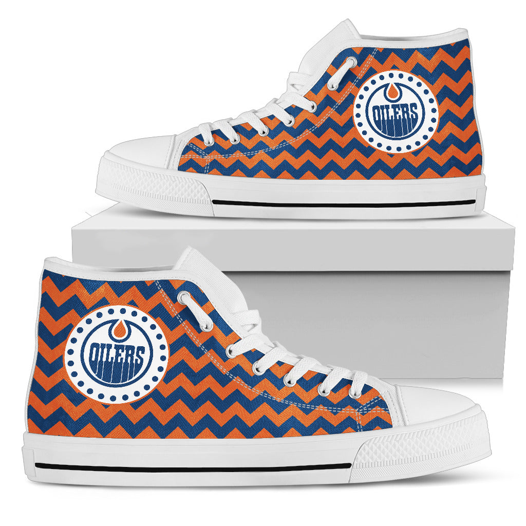 Chevron Broncos Edmonton Oilers High Top Shoes