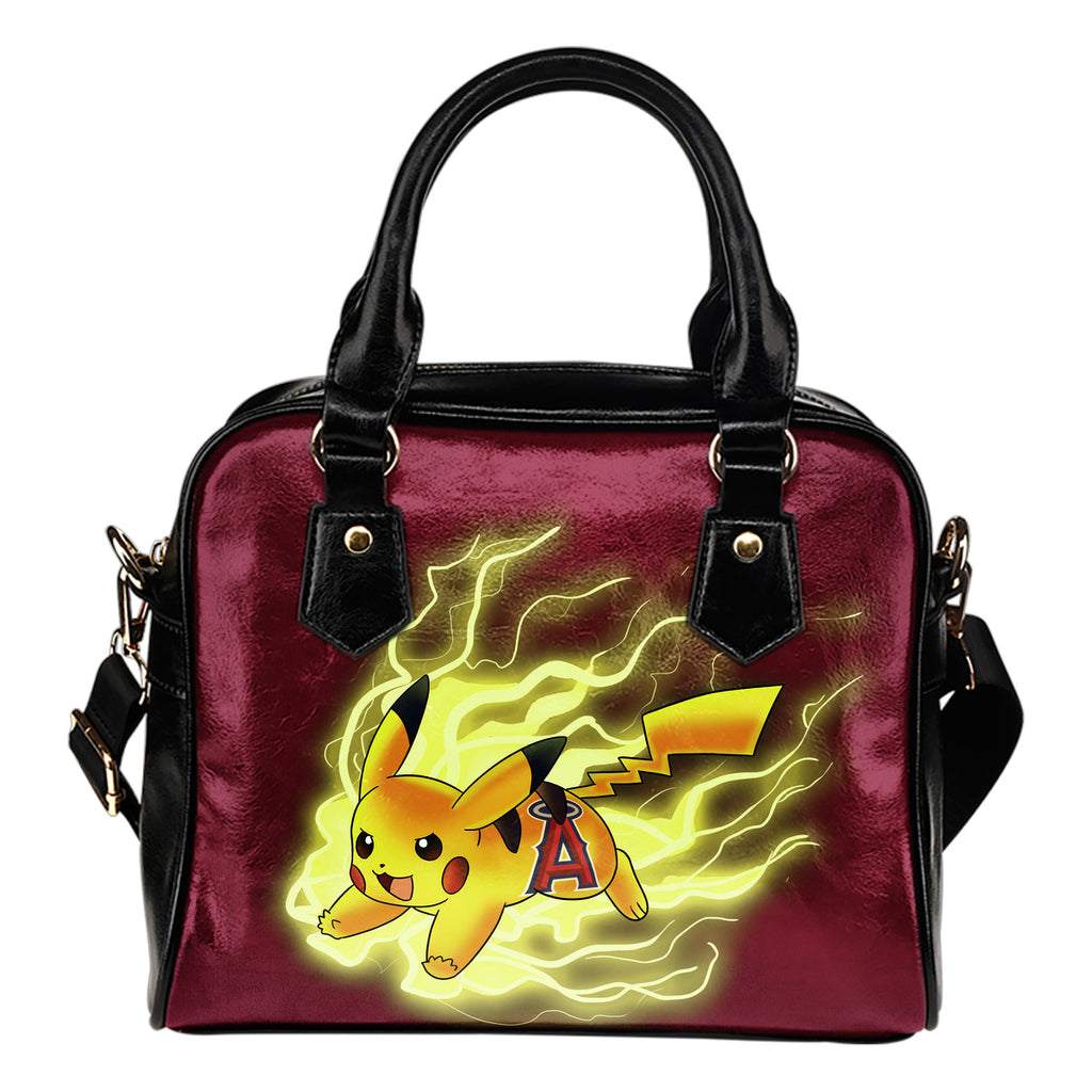 Pikachu Angry Moment Los Angeles Angels Shoulder Handbags