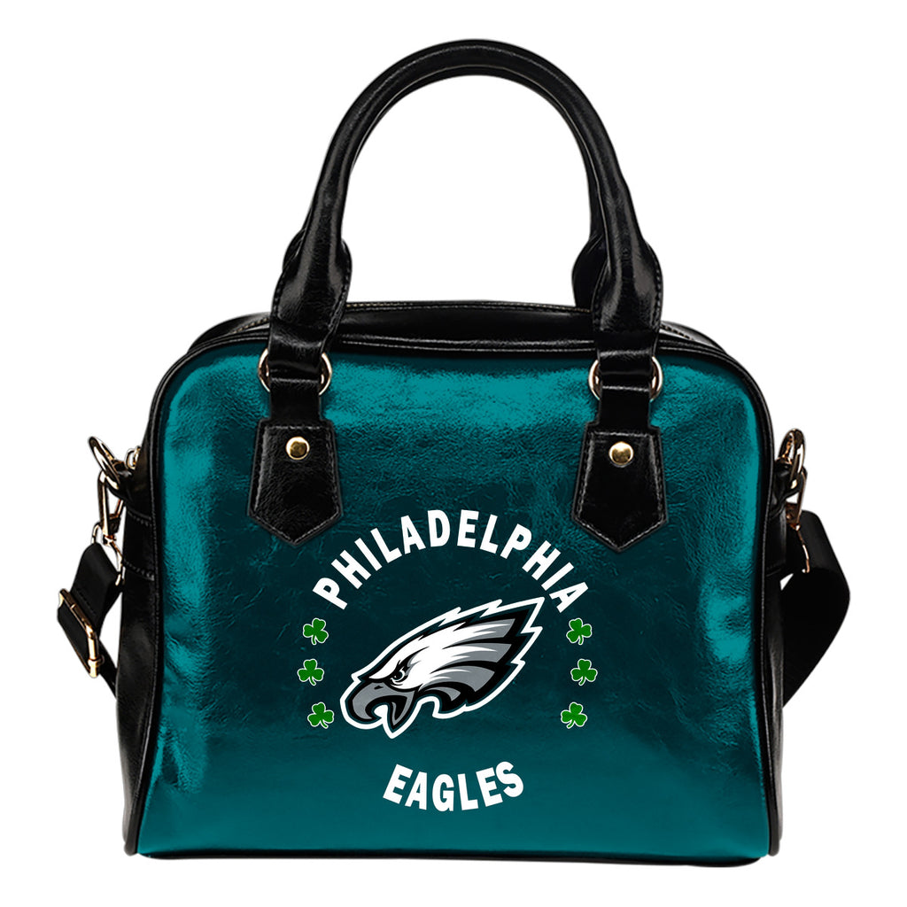 Central Beautiful Logo Circle Lucky Leaf Philadelphia Eagles Shoulder Handbags