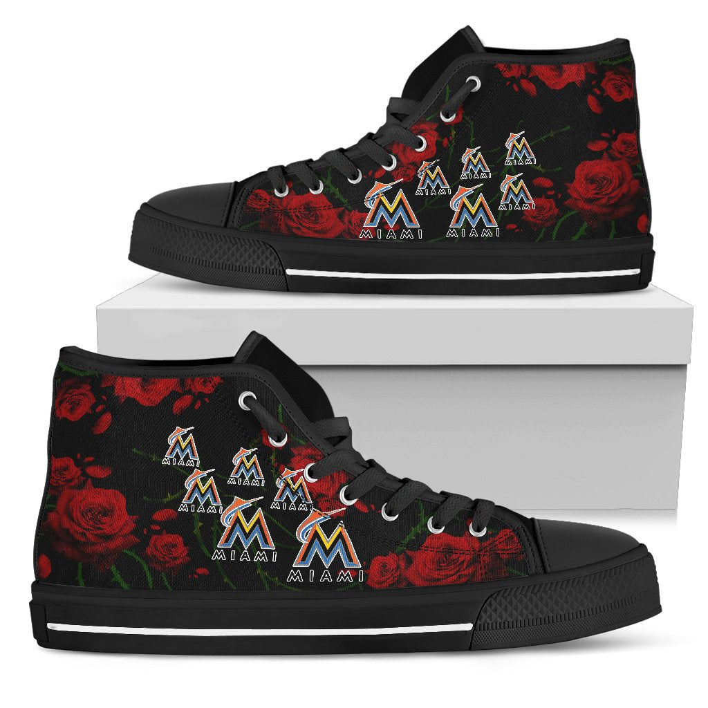best service d1750 dedd6 Lovely Rose Thorn Incredible Miami Marlins High Top Shoes