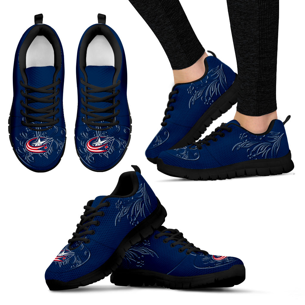 Lovely Floral Print Columbus Blue Jackets Sneakers