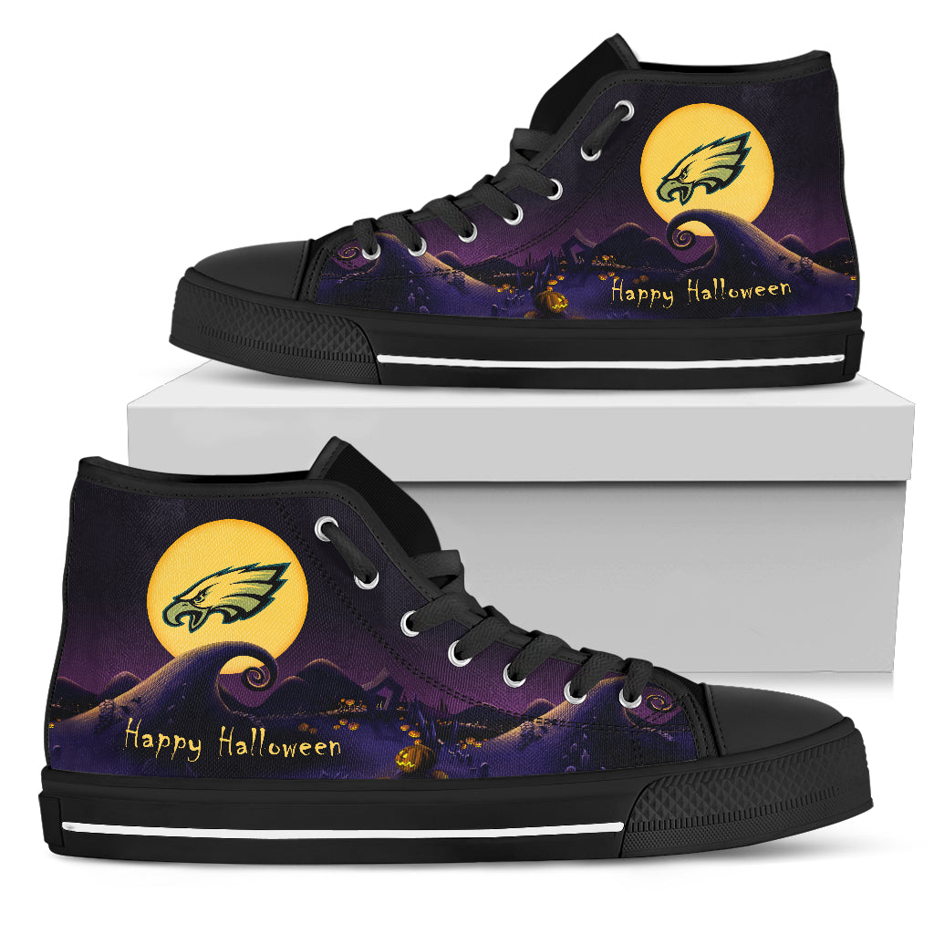 Before Christmas Nightmare Halloween Moonlight Philadelphia Eagles High Top Shoes