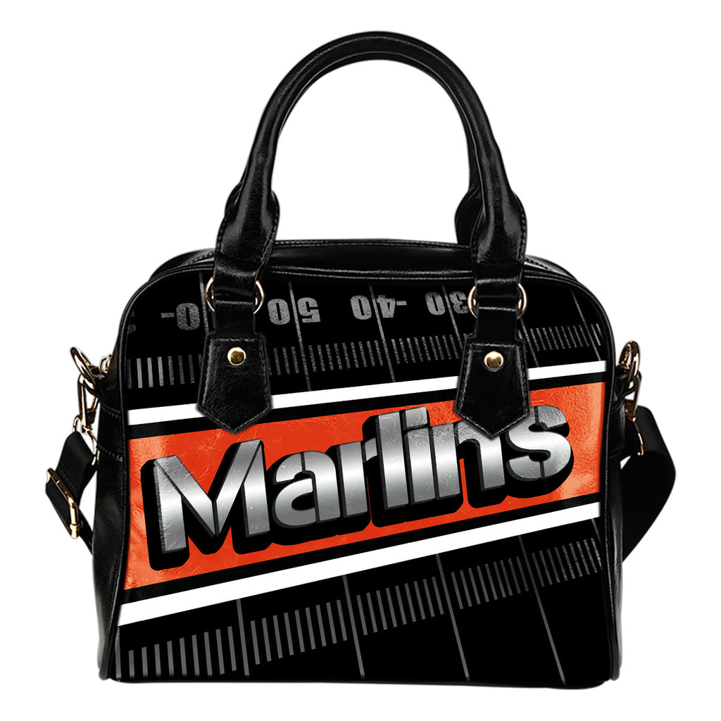 Miami Marlins Silver Name Colorful Shoulder Handbags