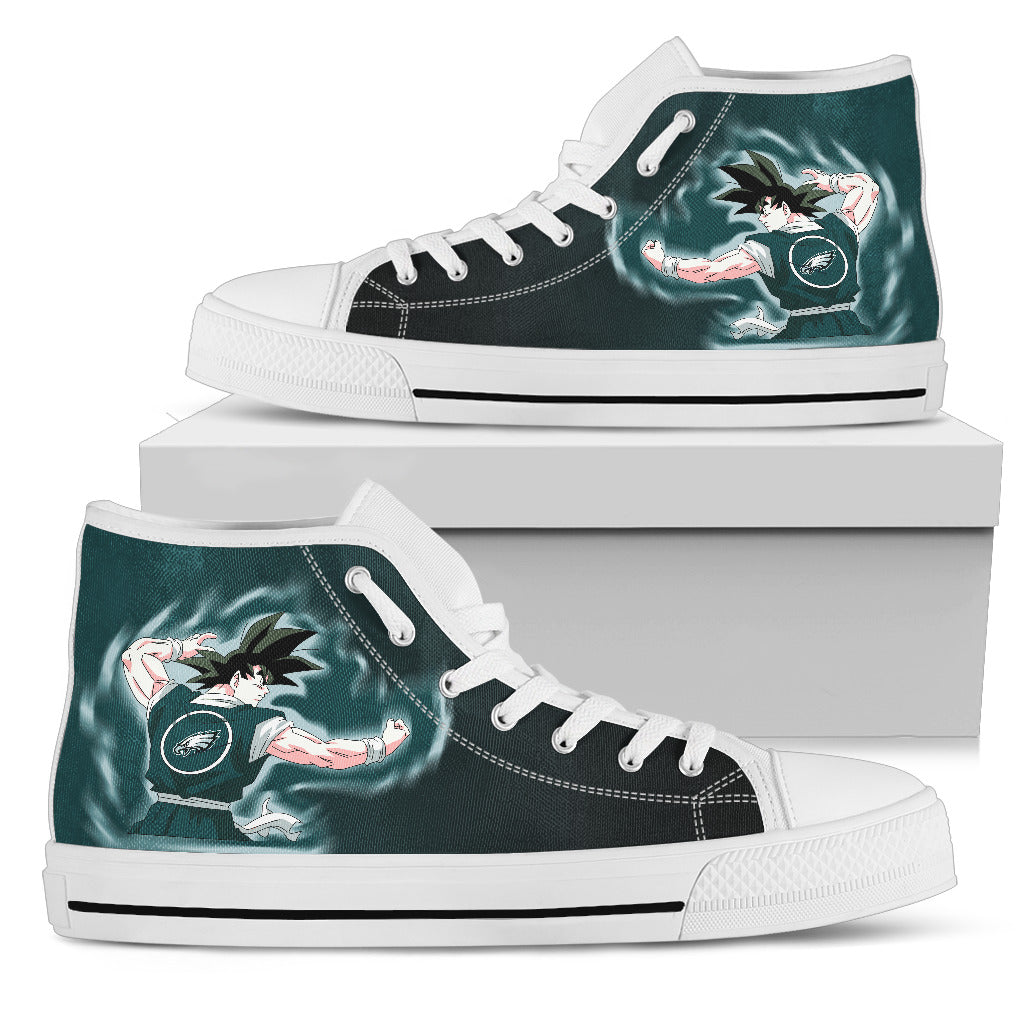 Son Goku Saiyan Power Philadelphia Eagles High Top Shoes
