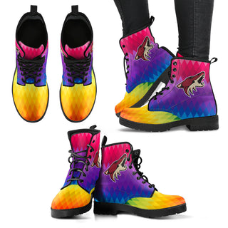 Multicolor Zig Zag Lovely Background Nice Logo Arizona Coyotes Boots