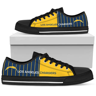 Simple Design Vertical Stripes Los Angeles Chargers Low Top Shoes