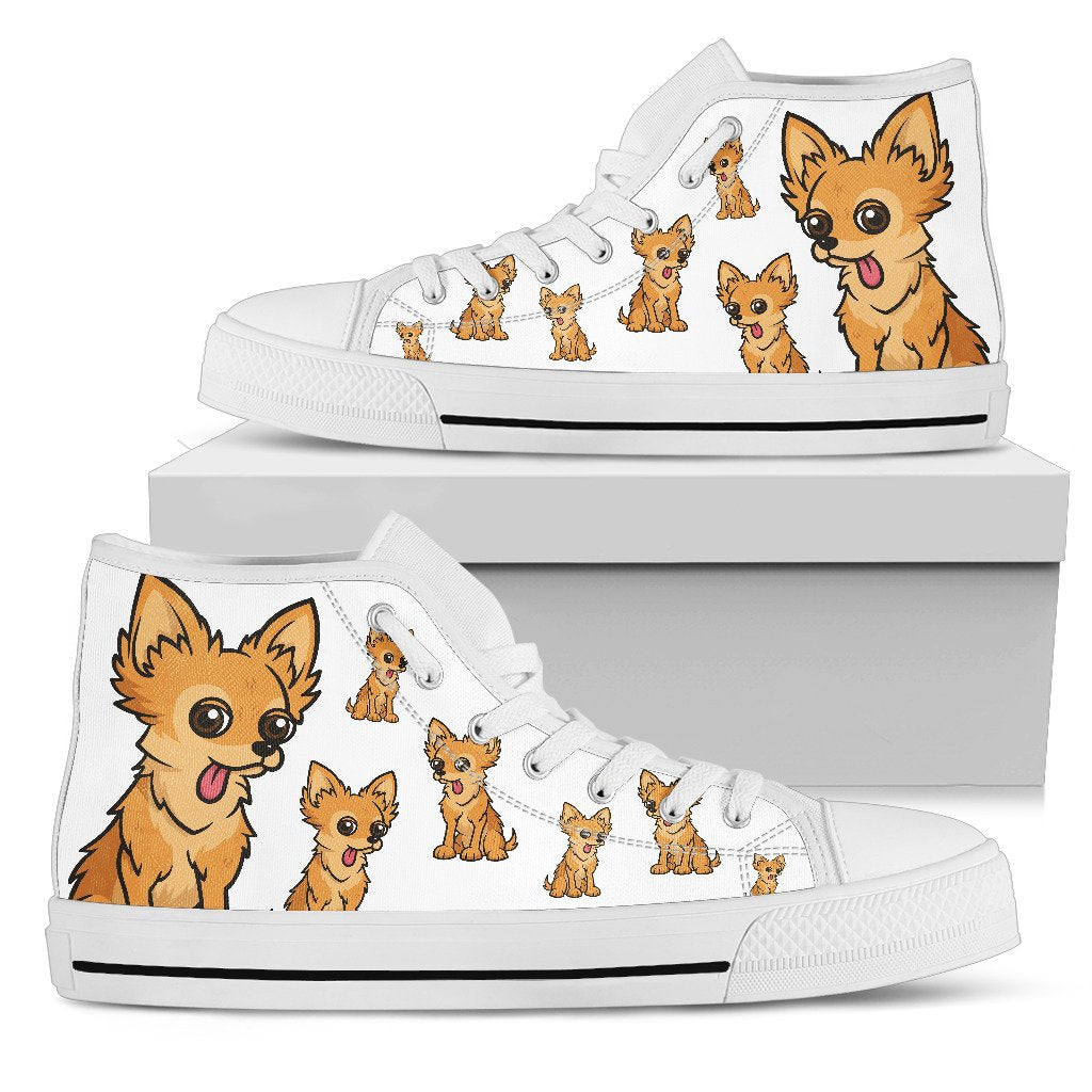 Funny Chihuahua Dog High Top Shoes Chihuahua Face Pattern