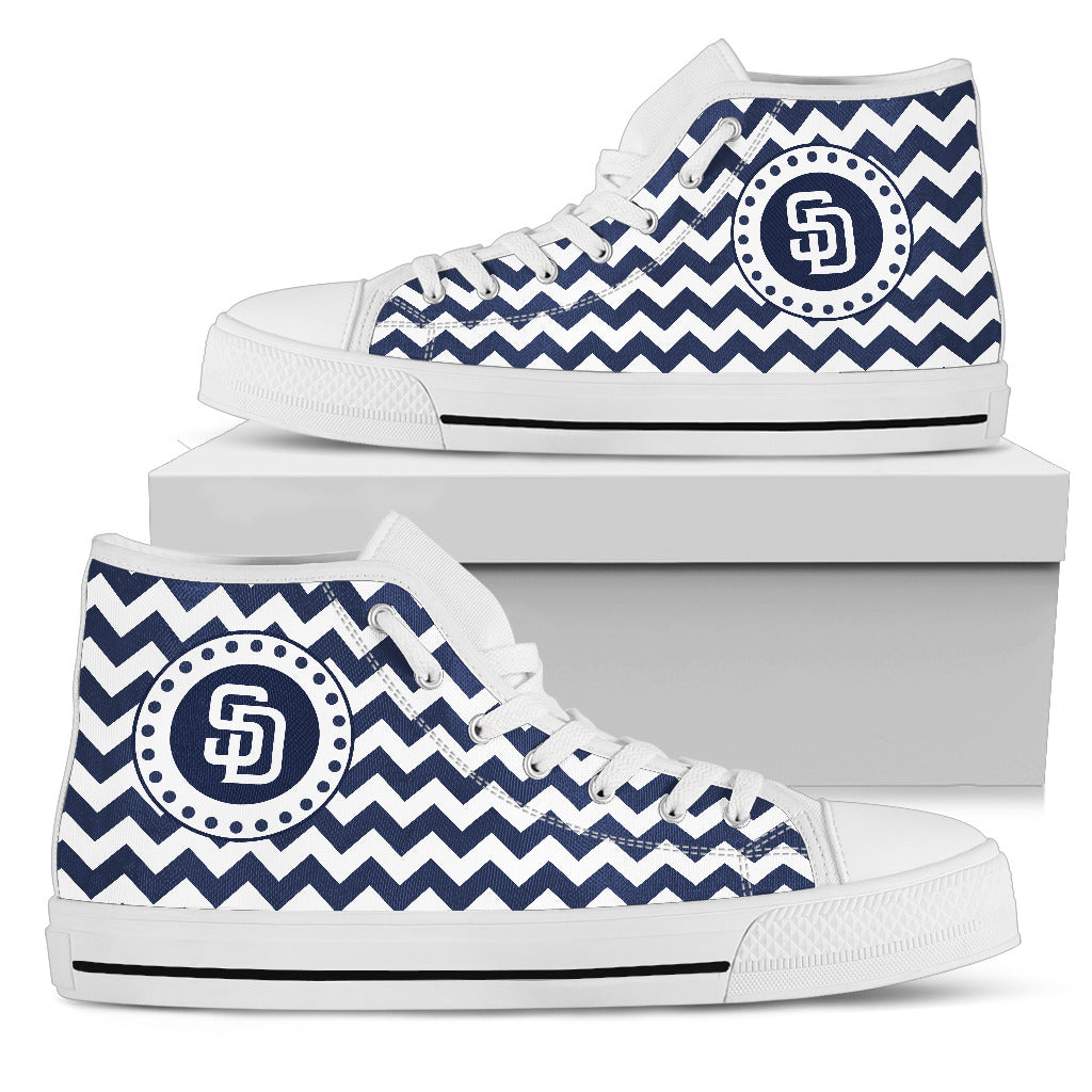 Chevron Broncos San Diego Padres High Top Shoes