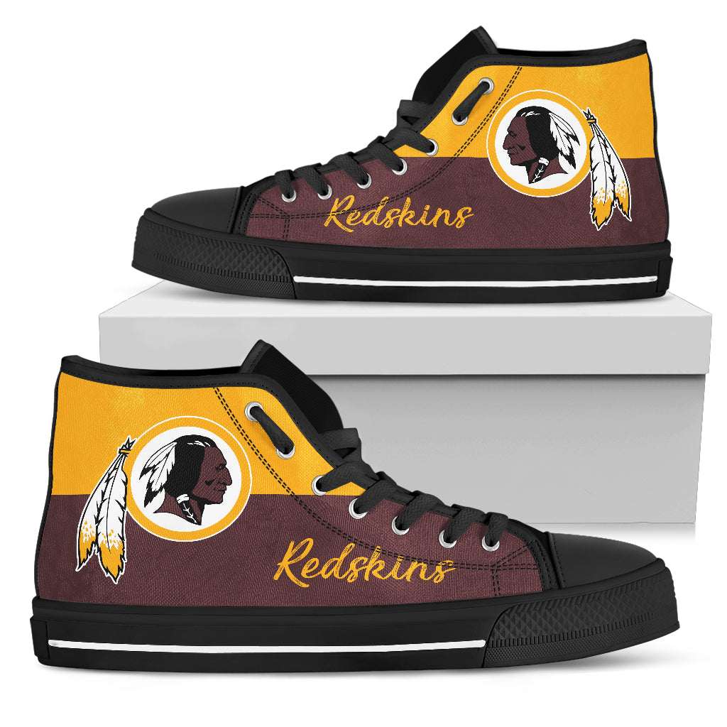 Divided Colours Stunning Logo Washington Redskins High Top Shoes