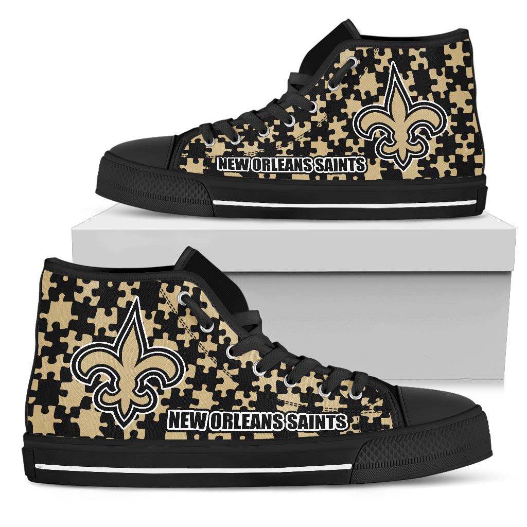 Puzzle Logo With New Orleans Saints High Top Shoes – Best Funny Store 38a88f3e8