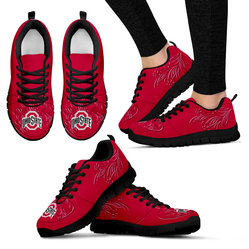 Lovely Floral Print Ohio State Buckeyes Sneakers