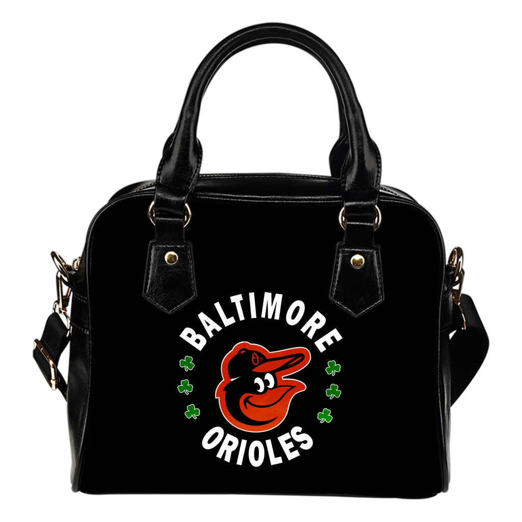 Central Beautiful Logo Circle Lucky Leaf Baltimore Orioles Shoulder Handbags