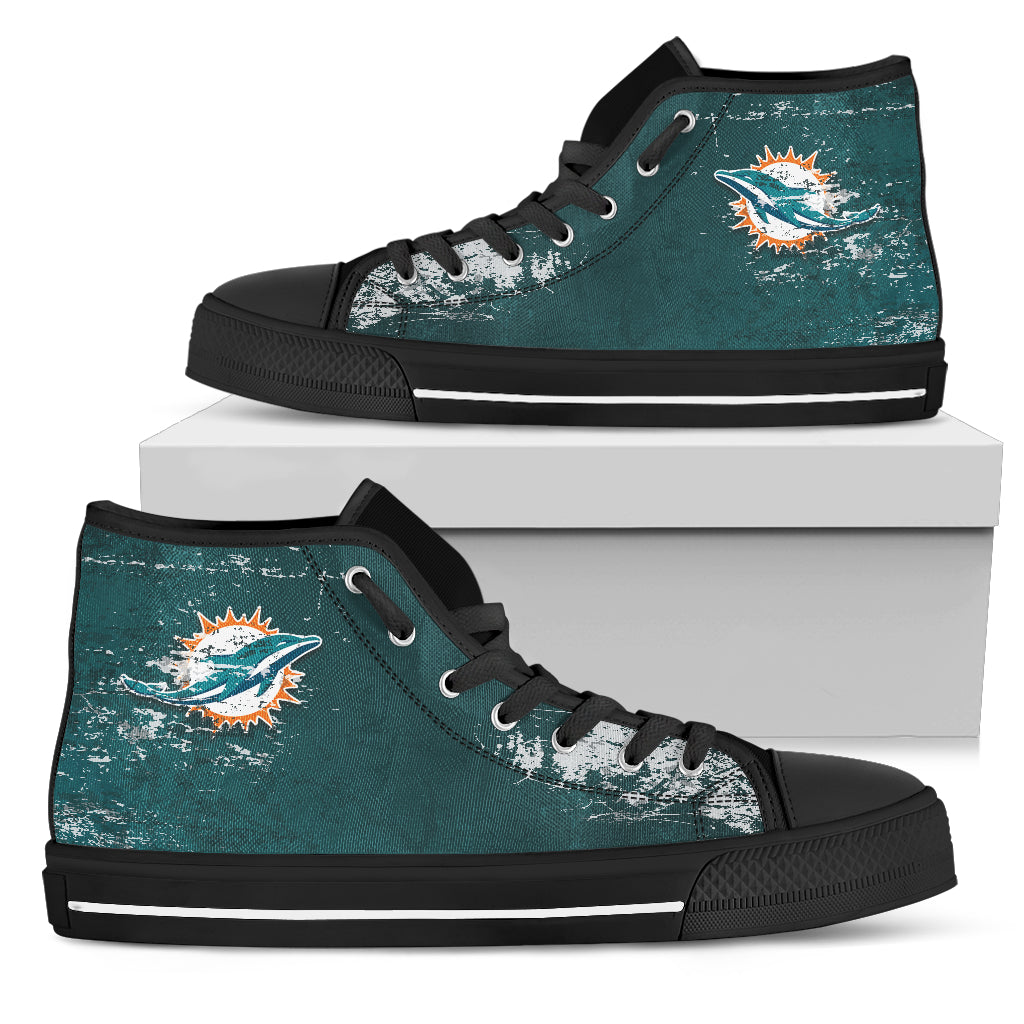 Grunge Vintage Logo Miami Dolphins High Top Shoes