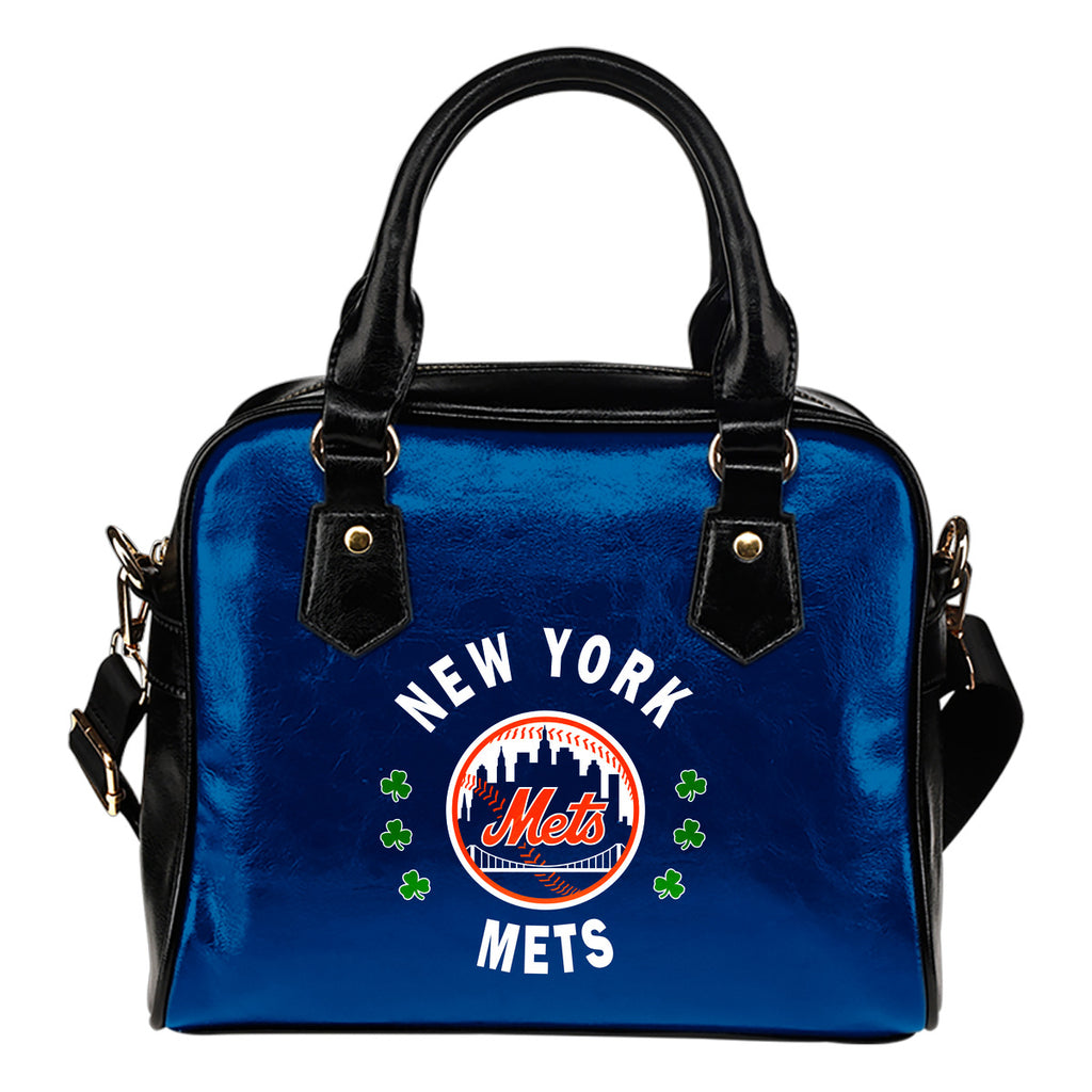 Central Beautiful Logo Circle Lucky Leaf New York Mets Shoulder Handbags