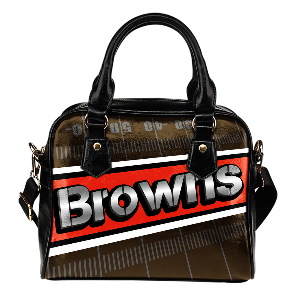 Cleveland Browns Silver Name Colorful Shoulder Handbags