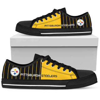 Simple Design Vertical Stripes Pittsburgh Steelers Low Top Shoes