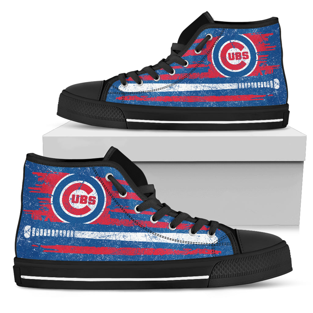 American Flag Vintage Baseball Chicago Cubs High Top Shoes