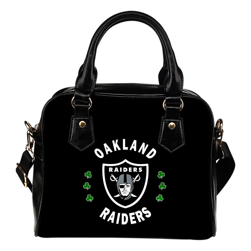 Central Beautiful Logo Circle Lucky Leaf Oakland Raiders Shoulder Handbags
