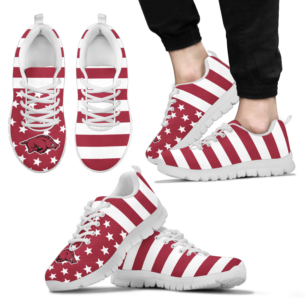 America Flag Logo Bottom Stripes Arkansas Razorbacks Sneakers