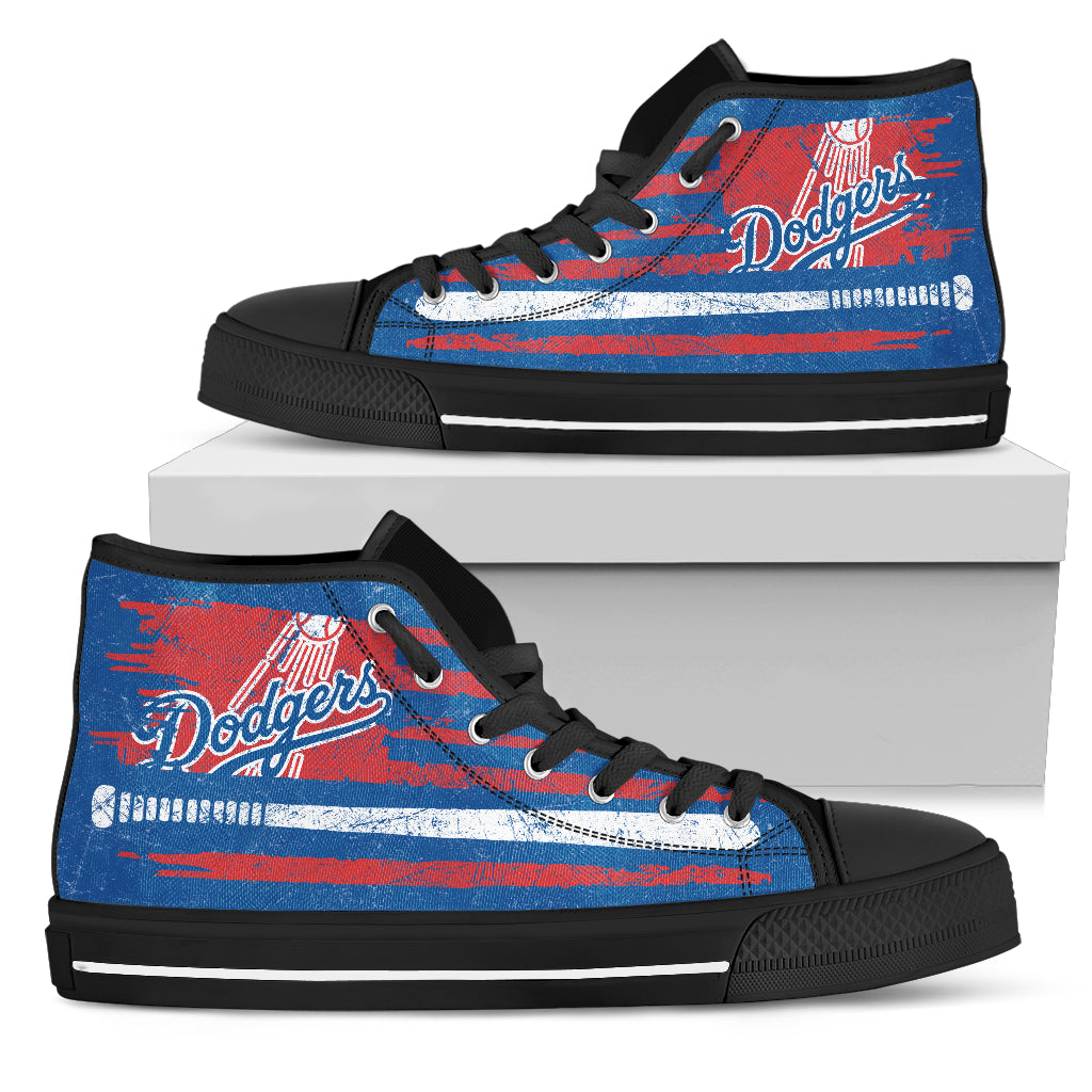 American Flag Vintage Baseball Los Angeles Dodgers High Top Shoes