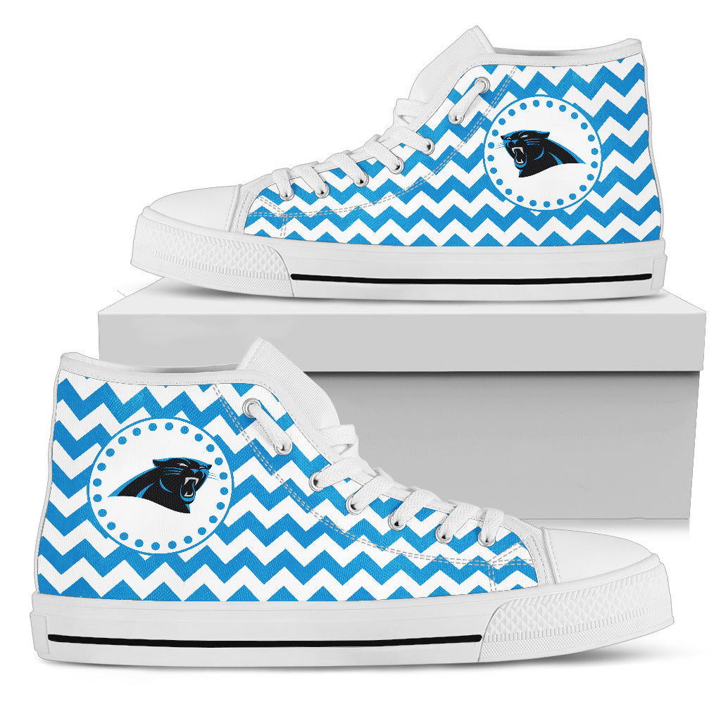 Chevron Broncos Carolina Panthers High Top Shoes