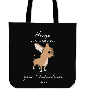 Home Is Where My Chihuahuas Are Tote Bags