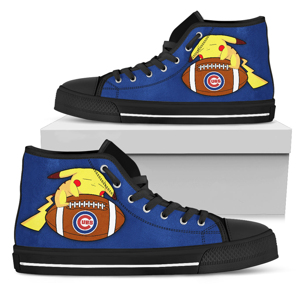 Interesting Pikachu Laying On Ball Chicago Cubs High Top Shoes